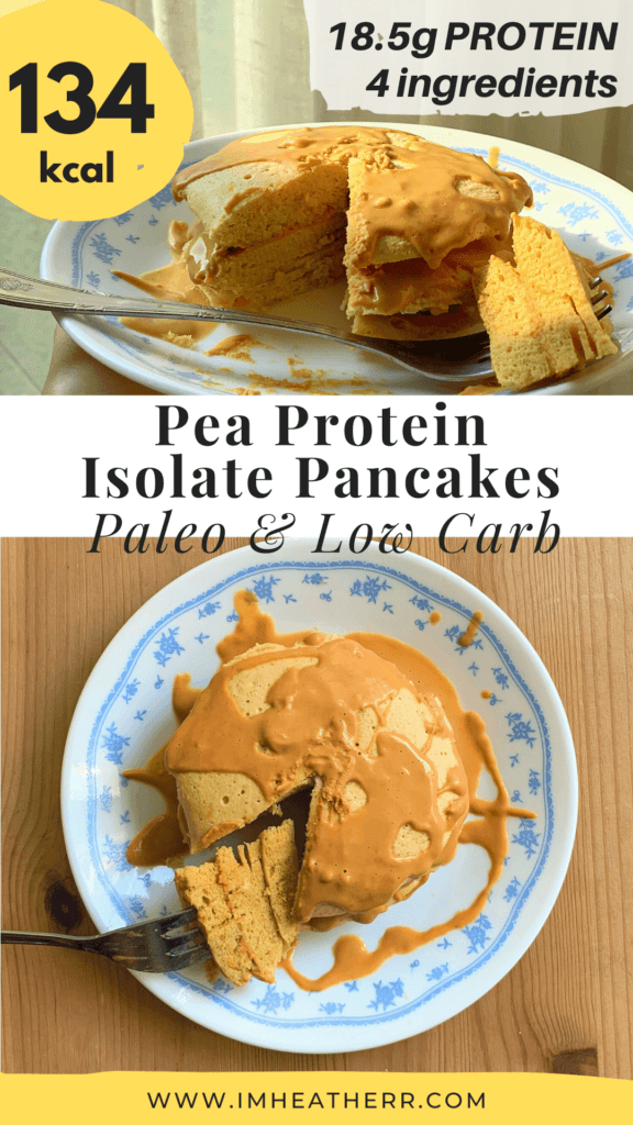 fluffy and thick pancakes that are low calorie and high protein pancakes made using pea protein isolate, topped with PB2 (a pinterest graphic)